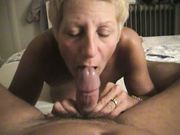Short Haired MILF Enjoys Sucking A Hard Dick Until He Cums