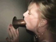MILF Sucks Black Cock Through Gloryhole And Loves It