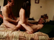 Two Guys, One Lucky Girl Engage In Threesome