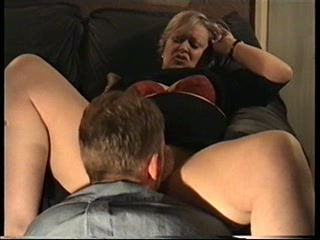 Husband eats and fucks hairy mature wife